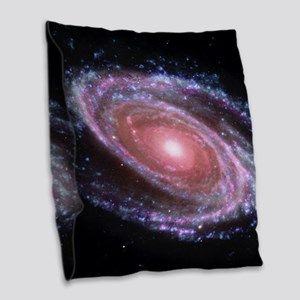 Pink Spiral Galaxy Burlap Throw Pillow
