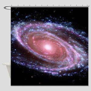 Pink Spiral Galaxy Shower Curtain