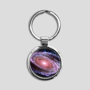 Pink Spiral Galaxy Round Keychain