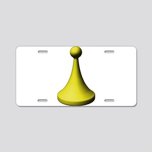Yellow Pawn Aluminum License Plate