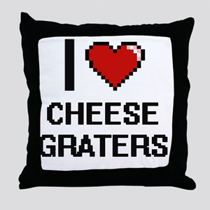 I love Cheese Graters Digitial Design Throw Pillow