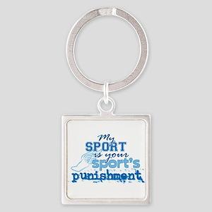 Sport Punishment Blue Square Keychain