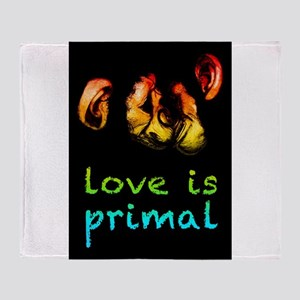 our love is primal kissing chimps Throw Blanket