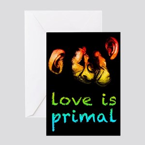 our love is primal kissing chimps Greeting Cards