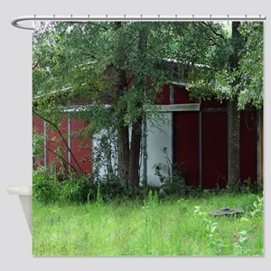 Old Country Red Barn Shower Curtain