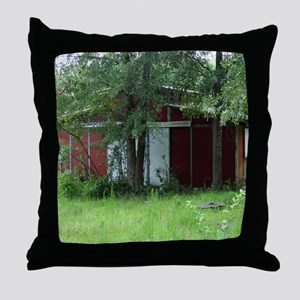 Old Country Red Barn Throw Pillow