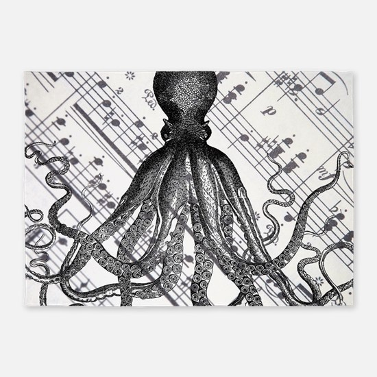 vintage nautical steampunk octopus 5'x7'Area Rug