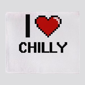I love Chilly Digitial Design Throw Blanket