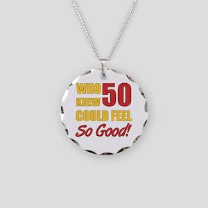 Fun 50th Birthday Necklace Circle Charm