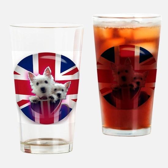 2 westie pups in a mug Drinking Glass