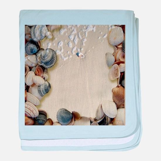 summer ocean beach seashells baby blanket