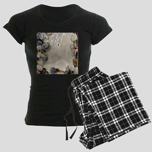 summer ocean beach seashells Women's Dark Pajamas
