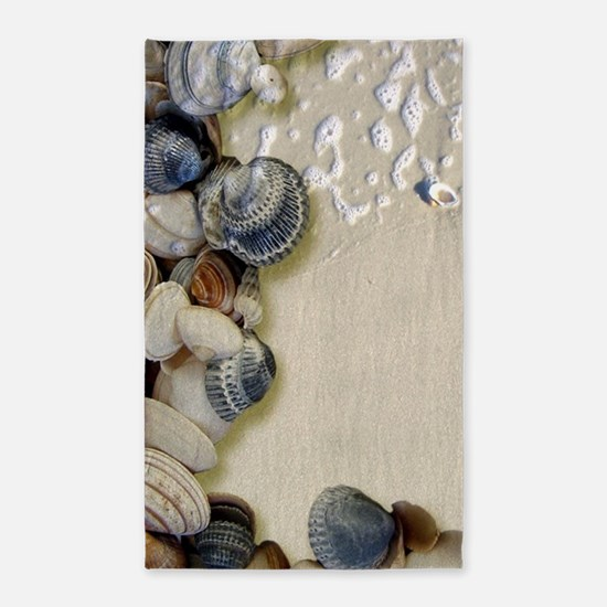 summer ocean beach seashells Area Rug