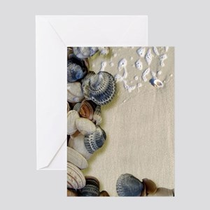 summer ocean beach seashells Greeting Cards