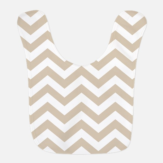 Brown, Beige: Chevron Pattern Polyester Baby Bib