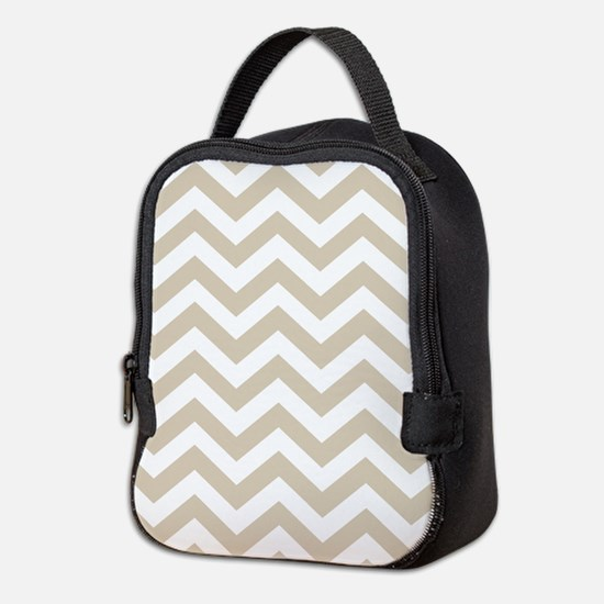 Brown, Beige: Chevron Pattern Neoprene Lunch Bag