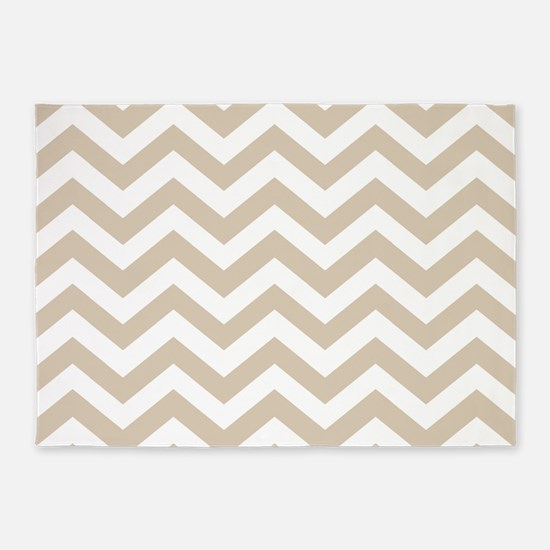 Brown, Beige: Chevron Pattern 5'x7'Area Rug