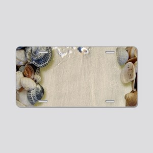 summer ocean beach seashell Aluminum License Plate