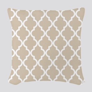 Brown, Beige: Quatrefoil Moroc Woven Throw Pillow