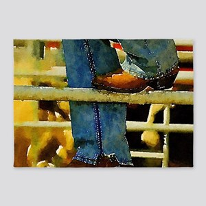 western country rodeo cowboy 5'x7'Area Rug