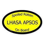 Spoiled Lhasa Apsos On Board Oval Sticker