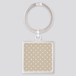 Brown, Beige: Polka Dots Pattern ( Square Keychain