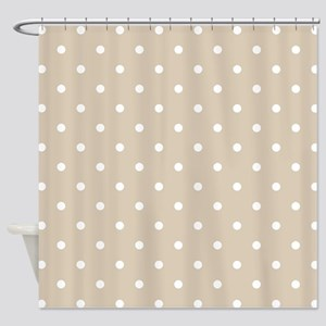 Brown, Beige: Polka Dots Pattern (S Shower Curtain