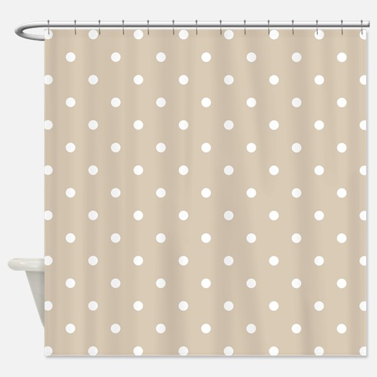 Brown, Beige: Polka Dots Pattern (S Shower Curtain