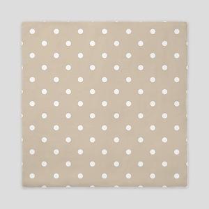 Brown, Beige: Polka Dots Pattern (Smal Queen Duvet
