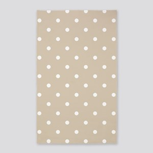 Brown, Beige: Polka Dots Pattern (Small) Area Rug
