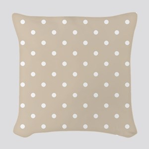 Brown, Beige: Polka Dots Patte Woven Throw Pillow