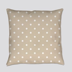 Brown, Beige: Polka Dots Pattern ( Everyday Pillow
