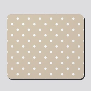 Brown, Beige: Polka Dots Pattern (Small) Mousepad
