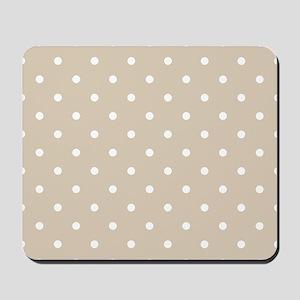Brown, Beige: Polka Dots Pattern (Small) Mousepad