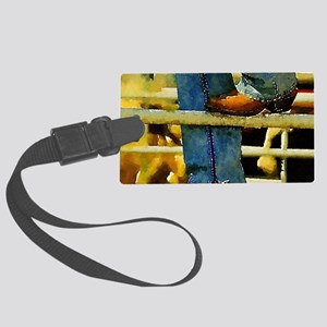 western country rodeo cowboy Large Luggage Tag