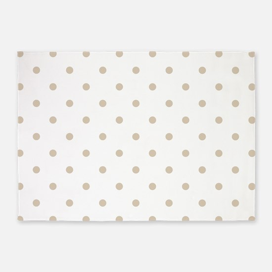 Brown, Beige: Polka Dots Pattern (S 5'x7'Area Rug