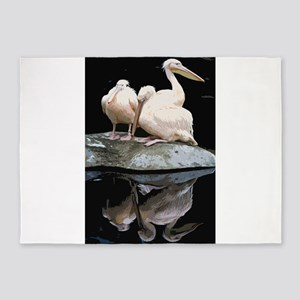 Trio of Peach Pelicans and Their Al 5'x7'Area Rug