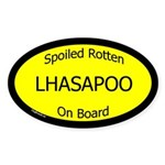Spoiled Lhasapoo On Board Oval Sticker