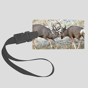 Fighting mule deer bucks 2 Large Luggage Tag
