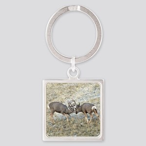 Fighting mule deer bucks 2 Square Keychain