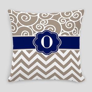 Beige Navy Swirls Chevron Monogram Everyday Pillow