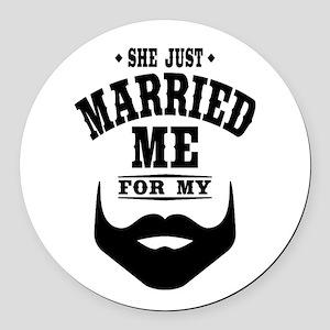Married Beard Round Car Magnet