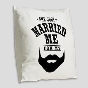 Married Beard Burlap Throw Pillow
