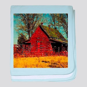 western country red barn baby blanket