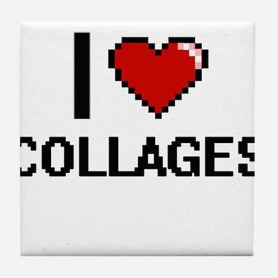 I love Collages Digitial Design Tile Coaster