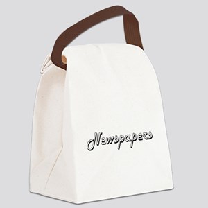 Newspapers Classic Retro Design Canvas Lunch Bag