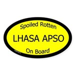 Spoiled Lhasa Apso On Board Oval Sticker