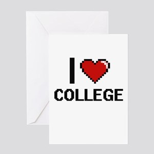I Love College Digitial Design Greeting Cards