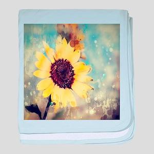 romantic summer watercolor sunflower baby blanket