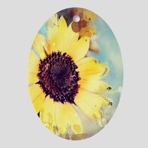 romantic summer watercolor sunflow Ornament (Oval)